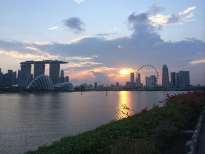 singapore harbour sunset